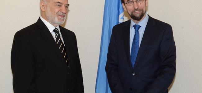 السيد وزير الخارجية الدكتور الجعفري يلتقي سمو الامير زيد بن رعد الحسين المفوض السامي لحقوق الانسان في مقر الامم المتحدة في جنيف